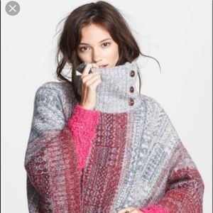 Free People Sweaters - Free People willow diamond knit poncho sweater